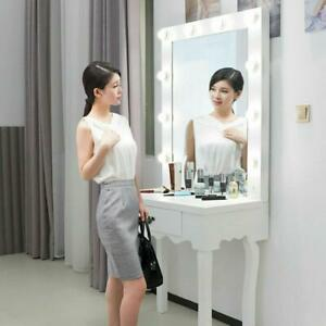 White Vanity Set with Lighted Mirror Drawer Women Makeup Dressing Table