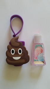 SILICONE POOP EMOJI BACKPACK CLIP~WITH PINK COTTON CANDY ANTIBACTERIAL HAND GEL