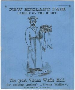 1880s Great Vienna Waffle Mold Illustrated Card - New England Bakery Cooking