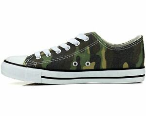 New Womens Shoes Low Top Canvas Fashion Sneakers Sport Green Camo Casual Size 6 $17.84