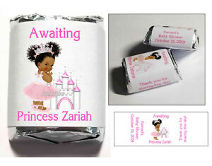 60 PRINCESS BABY SHOWER FAVORS CANDY WRAPPERS LABELS african $6.99