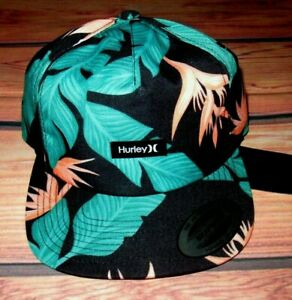 MENS HURLEY HANOI FLORAL TROPICAL SNAPBACK HAT ADJUSTABLE CAP ONE SIZE
