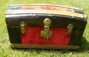 Antique Small Trunk Child's  Drawer Lock  Metal & Wood