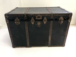 Vintage LARGE BLACK STEAMER TRUNK military wood chest coffee table box storage