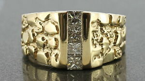 Men's 14K Solid Yellow Gold (.92 Carat Total Weight) Diamond Nugget Fashion Ring