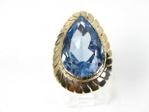 Antique 14k Yellow Gold 15ct Blue Topaz Solitaire Ladies Ring 8.1g