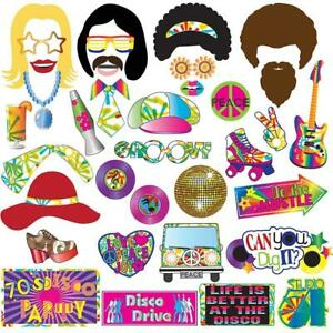 70's Photo Booth Props Party Supplies Kit For 70's Party Decorations Disco Fever