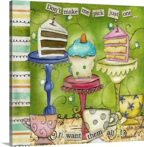 Cupcake Party - Don't Make me Pick Canvas Wall Art Print, Food Home Decor