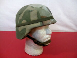 US Army PASGT Ground Troop Helmet made w/Kevlar w/Woodland Camo Cover - Small #2