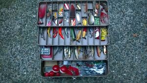 Large Vintage All Metal Falls City Tackle Box Filled With Tackle