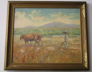 FINEST ROBERT STRATHEARN PAINTING ANTIQUE EARLY CALIFORNIA COW LANDSCAPE FARMER
