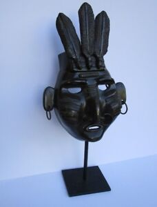 JIM DAVIDSON BRONZE METAL SCULPTURE TRIBAL INDIAN CHIEF MASK VINTAGE SIGNED