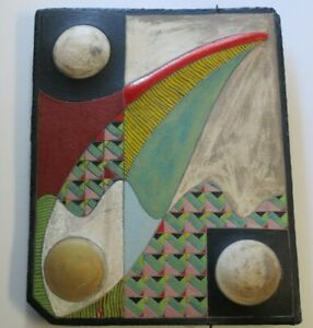 LARGE VINTAGE WALL HANGING SCULPTURE CERAMIC MODERNISM ABSTRACT CUBIST ATOMIC