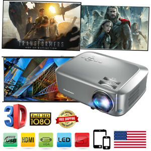 3D 1080P FHD 7000 Lumens Home Theater Video Projector Multimedia HDMI VGA 200""