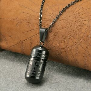 US Stainless Steel Buddha Words Bullet Pendant Necklace Cremation Urn Ash Black