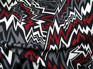 Bullet Printed Liverpool Textured Fabric Stretch Abstract Chevron Gray Red FF33