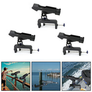 Adjustable Boat Fishing Pole Rod Holder Clamp-on Rail 4.7inches Fits Kayak UA