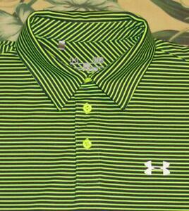 Mens UNDER ARMOUR Green Blue Striped Polo Shirt Large L