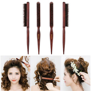 Comb Hair Teasing Brush Wooden Handle Back Comb Natural Boar Bristle Brown 1Pc