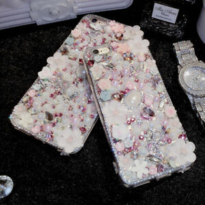 NEW Bling Crystals Personalized Diamonds Pearls Soft back Cover Case For Samsung