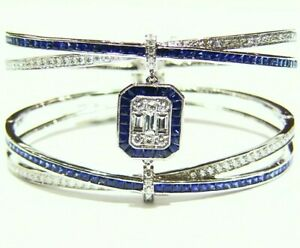 Designer 18K Gold Natural Ceylon Sapphire Diamond Halo Engagement Cuff Bracelet