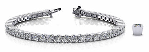 5.04ctw  Four Prong Round Diamond Designer Tennis Bracelet-14K Gold