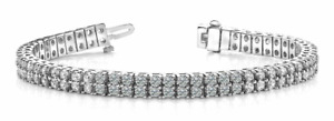 6.05ctw Classic Round Two Row Diamond Designer Tennis Bracelet-14K Gold