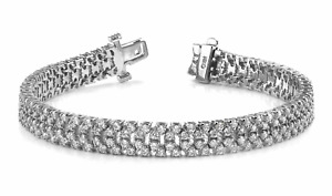 6.03ctw Four Row Slant Round Diamond Designer Tennis Bracelet-14K Gold