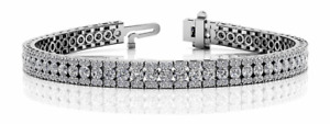 5.80ctw Three Row Stack Round Diamond Designer Tennis Bracelet-14K Gold