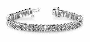 5.04ctw Oval Halo Link Diamond Designer Tennis Bracelet-14K Gold