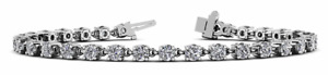 5.12ctw Four Prong Link Round Diamond Designer Tennis Bracelet-14K Gold