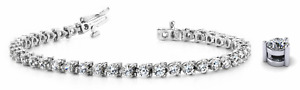 6.00ctw Round Three Prong Diamond Designer Tennis Bracelet-14K Gold