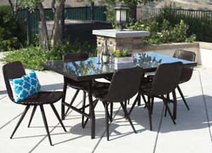 7PC Outdoor Dining Set Brown Wicker Patio Furniture Table Chair Pool Garden Deck