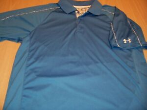 UNDER ARMOUR HEATGEAR SHORT SLEEVE BLUE POLO SHIRT MENS LARGE EXCELLENT
