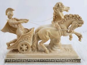 """A. Santini Vintage Sculpture Italy Roman Chariot Horse Warrior LARGE 16.5"""" 1960s $225.00"""