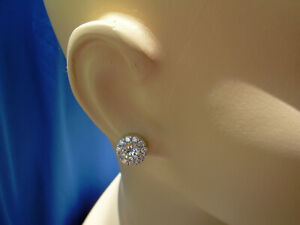 Vintage Antique Designer studs 3 carat Natural Real Diamond Halo Earrings