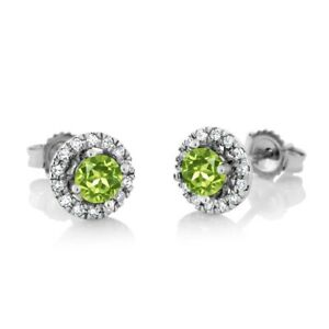 18K White Gold Diamond Halo Earrings set with 0.80 cttw Round Green Peridot