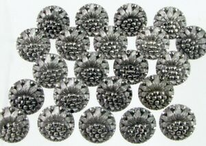22 Small Lacy Type Black Glass Buttons w Silver Luster