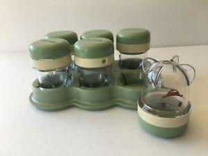 Baby Bullet set of 6 replacement food jars containers with tray green caps lids