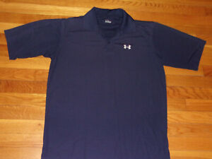 UNDER ARMOUR SHORT SLEEVE NAVY BLUE POLO SHIRT MENS LARGE EXCELLENT CONDITION