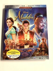 Aladdin (Blu-ray + DVD + Digital Copy) W/Slipcover - New, Sealed, Will Smith