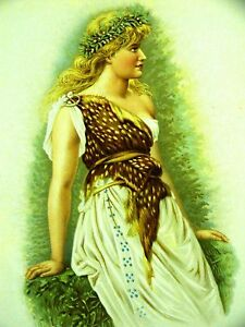 Gwin DRUIDESS WOMAN w WREATH 1890 LITHOGRAPH Antique Art Print Matted $32.00