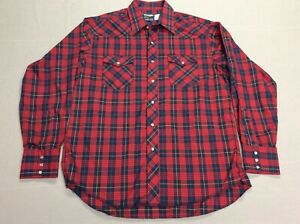 VINTAGE WRANGLER BUTTON UP COWBOY PEARL SNAP RED PLAID WESTERN SHIRT MENS LARGE