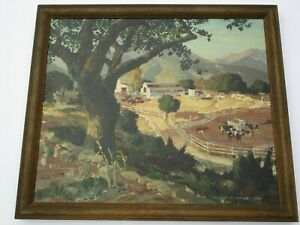 VERNON JAY MORSE PAINTING ANTIQUE AMERICAN REGIONALISM DAIRY COW FARM LANDSCAPE