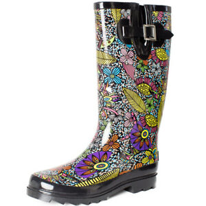 Womens Rain Boots Mid Calf Waterproof Rubber Wellies Garden Shoes Floral Printed $29.74