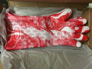 Silicone Gloves Prepology Extra Long For Cooking or Grilling Red Swirl