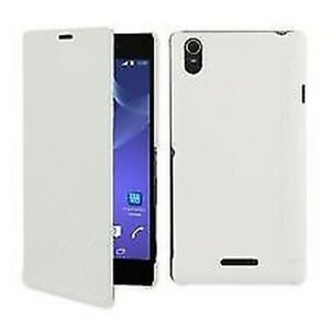 Roxfit Xperia T3 Flip Book Case With Credit Card Slot - Carbon White
