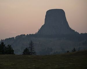 Devils Tower National Monument in Wyoming at sunset Photo Print