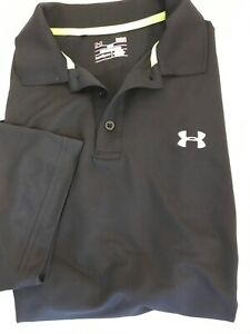 Under Armour Loose Fit Black Polo Heat Gear Large