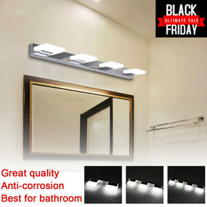 Modern Bathroom Vanity 2/3/4 LED Light Crystal Front Mirror Toilet Wall Lamp US